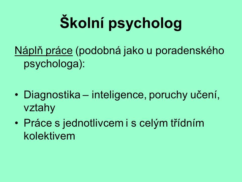 Školní psycholog Náplň práce (podobná jako u poradenského psychologa): Diagnostika – inteligence, poruchy učení, vztahy Práce s jednotlivcem i s celým třídním kolektivem