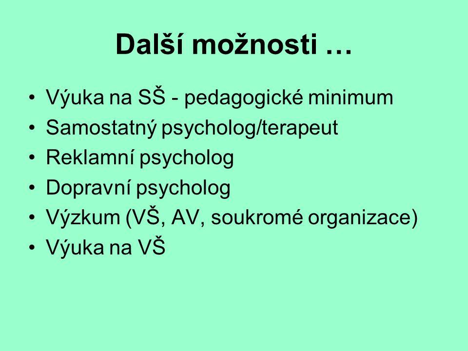 Další možnosti … Výuka na SŠ - pedagogické minimum Samostatný psycholog/terapeut Reklamní psycholog Dopravní psycholog Výzkum (VŠ, AV, soukromé organizace) Výuka na VŠ