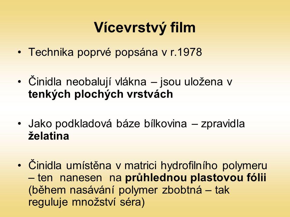Vícevrstvý film Technika poprvé popsána v r.1978 Činidla neobalují vlákna – jsou uložena v tenkých plochých vrstvách Jako podkladová báze bílkovina –