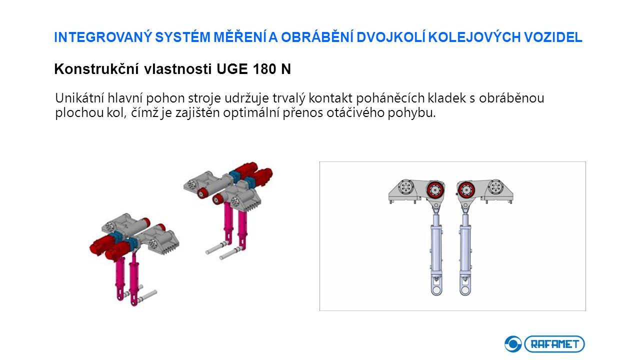 INTEGROVANÝ SYSTÉM MĚŘENÍ A OBRÁBĚNÍ DVOJKOLÍ KOLEJOVÝCH VOZIDEL Konstrukční vlastnosti UGE 180 N Unikátní hlavní pohon stroje udržuje trvalý kontakt