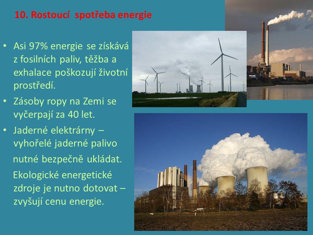 10. Rostoucí spotřeba energie Asi 97% energie se získává z fosilních paliv, těžba a exhalace poškozují životní prostředí. Zásoby ropy na Zemi se vyčer