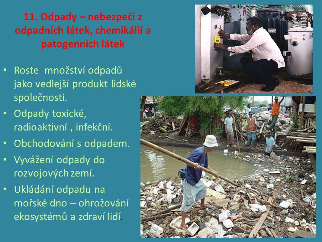 11. Odpady – nebezpečí z odpadních látek, chemikálií a patogenních látek Roste množství odpadů jako vedlejší produkt lidské společnosti. Odpady toxick