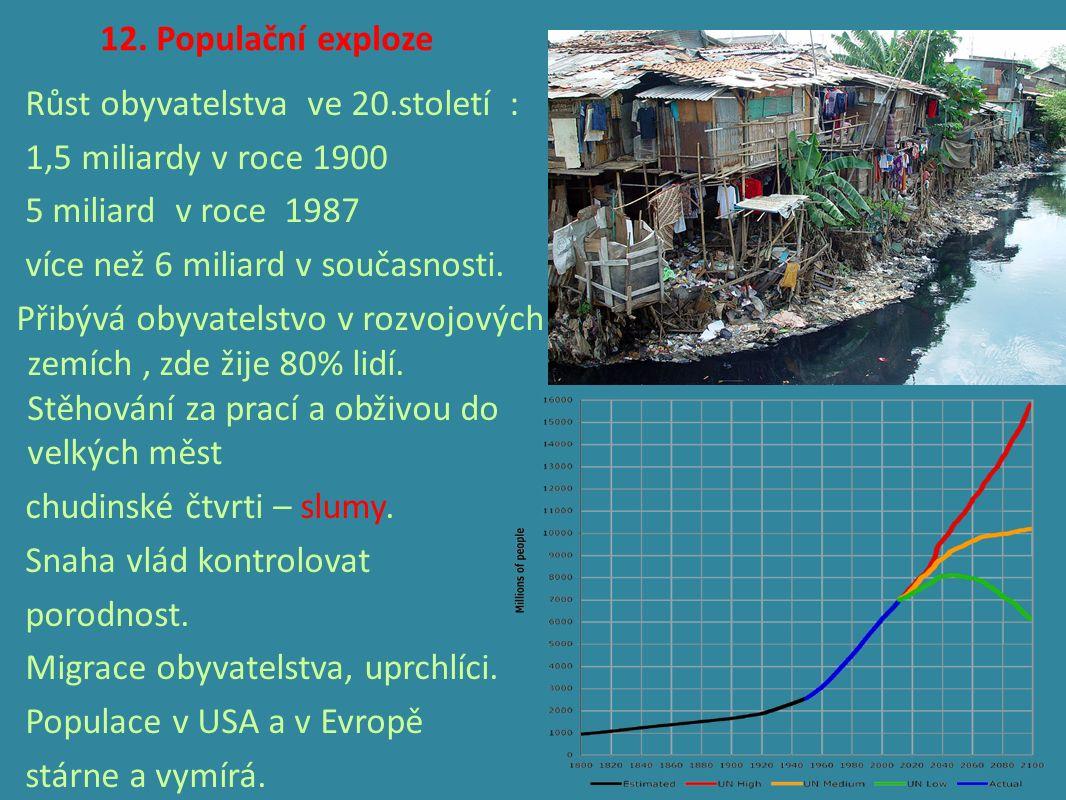 12. Populační exploze Růst obyvatelstva ve 20.století : 1,5 miliardy v roce 1900 5 miliard v roce 1987 více než 6 miliard v současnosti. Přibývá obyva