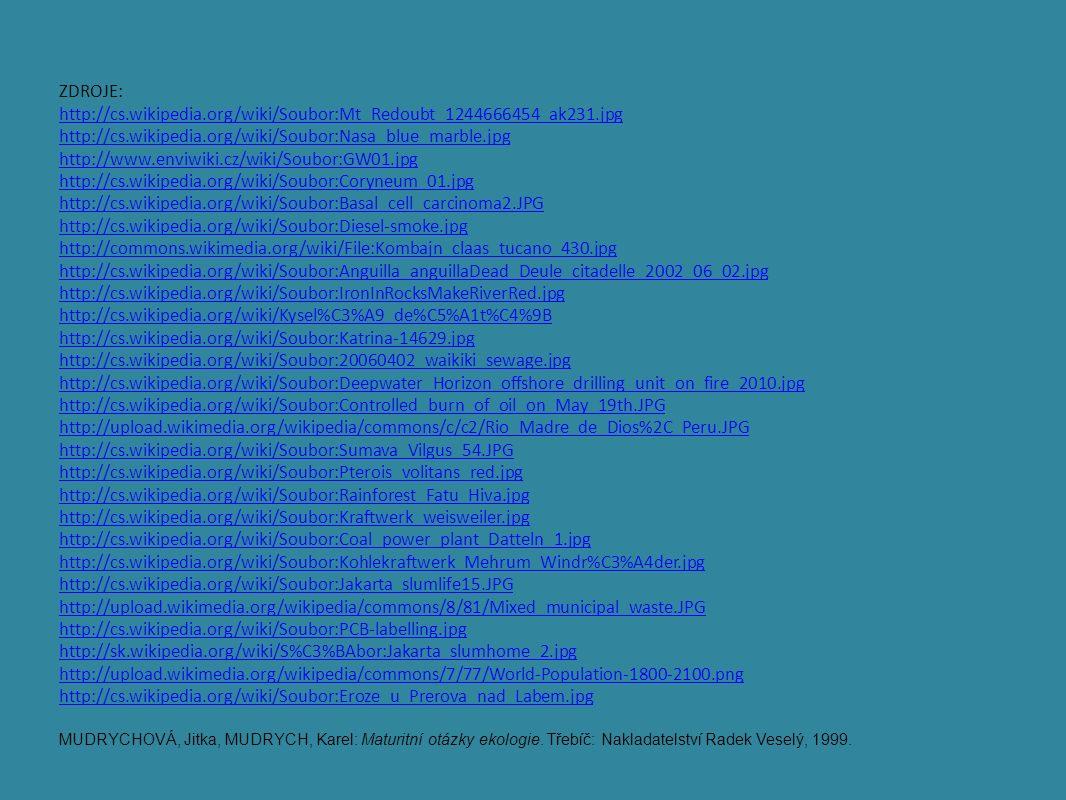ZDROJE: http://cs.wikipedia.org/wiki/Soubor:Mt_Redoubt_1244666454_ak231.jpg http://cs.wikipedia.org/wiki/Soubor:Nasa_blue_marble.jpg http://www.enviwiki.cz/wiki/Soubor:GW01.jpg http://cs.wikipedia.org/wiki/Soubor:Coryneum_01.jpg http://cs.wikipedia.org/wiki/Soubor:Basal_cell_carcinoma2.JPG http://cs.wikipedia.org/wiki/Soubor:Diesel-smoke.jpg http://commons.wikimedia.org/wiki/File:Kombajn_claas_tucano_430.jpg http://cs.wikipedia.org/wiki/Soubor:Anguilla_anguillaDead_Deule_citadelle_2002_06_02.jpg http://cs.wikipedia.org/wiki/Soubor:IronInRocksMakeRiverRed.jpg http://cs.wikipedia.org/wiki/Kysel%C3%A9_de%C5%A1t%C4%9B http://cs.wikipedia.org/wiki/Soubor:Katrina-14629.jpg http://cs.wikipedia.org/wiki/Soubor:20060402_waikiki_sewage.jpg http://cs.wikipedia.org/wiki/Soubor:Deepwater_Horizon_offshore_drilling_unit_on_fire_2010.jpg http://cs.wikipedia.org/wiki/Soubor:Controlled_burn_of_oil_on_May_19th.JPG http://upload.wikimedia.org/wikipedia/commons/c/c2/Rio_Madre_de_Dios%2C_Peru.JPG http://cs.wikipedia.org/wiki/Soubor:Sumava_Vilgus_54.JPG http://cs.wikipedia.org/wiki/Soubor:Pterois_volitans_red.jpg http://cs.wikipedia.org/wiki/Soubor:Rainforest_Fatu_Hiva.jpg http://cs.wikipedia.org/wiki/Soubor:Kraftwerk_weisweiler.jpg http://cs.wikipedia.org/wiki/Soubor:Coal_power_plant_Datteln_1.jpg http://cs.wikipedia.org/wiki/Soubor:Kohlekraftwerk_Mehrum_Windr%C3%A4der.jpg http://cs.wikipedia.org/wiki/Soubor:Jakarta_slumlife15.JPG http://upload.wikimedia.org/wikipedia/commons/8/81/Mixed_municipal_waste.JPG http://cs.wikipedia.org/wiki/Soubor:PCB-labelling.jpg http://sk.wikipedia.org/wiki/S%C3%BAbor:Jakarta_slumhome_2.jpg http://upload.wikimedia.org/wikipedia/commons/7/77/World-Population-1800-2100.png http://cs.wikipedia.org/wiki/Soubor:Eroze_u_Prerova_nad_Labem.jpg MUDRYCHOVÁ, Jitka, MUDRYCH, Karel: Maturitní otázky ekologie.