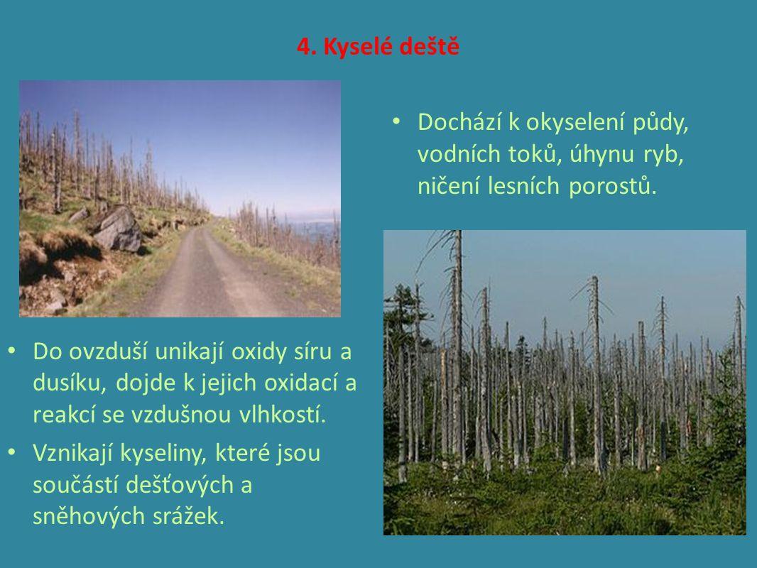 4. Kyselé deště Do ovzduší unikají oxidy síru a dusíku, dojde k jejich oxidací a reakcí se vzdušnou vlhkostí. Vznikají kyseliny, které jsou součástí d