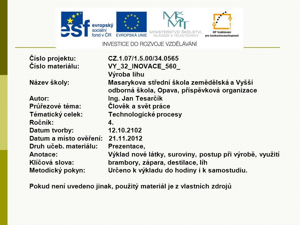 Číslo projektu:CZ.1.07/1.5.00/34.0565 Číslo materiálu:VY_32_INOVACE_560_ Výroba lihu Název školy: Masarykova střední škola zemědělská a Vyšší odborná