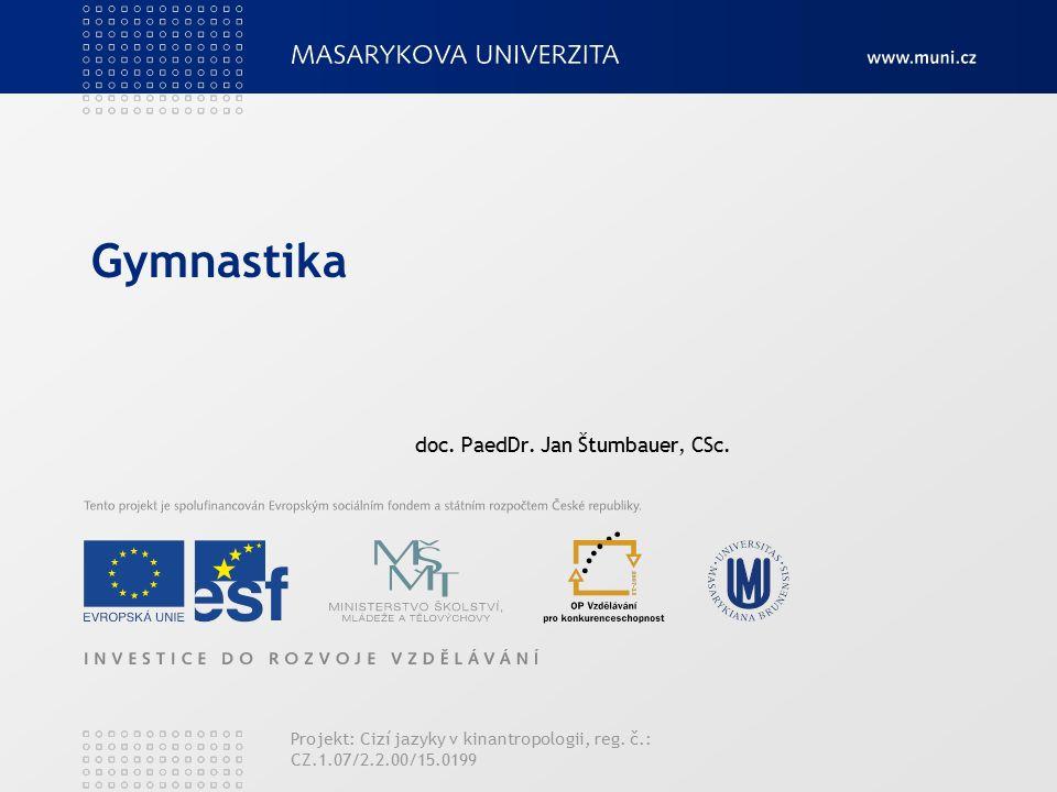Gymnastika doc. PaedDr. Jan Štumbauer, CSc. Projekt: Cizí jazyky v kinantropologii, reg.
