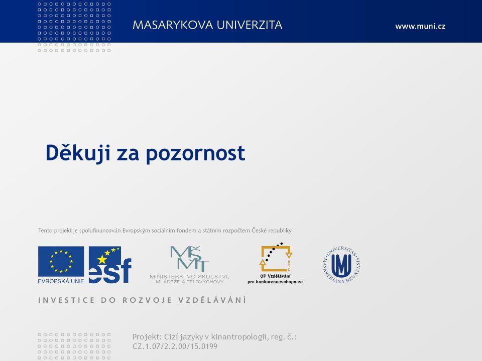 Děkuji za pozornost Projekt: Cizí jazyky v kinantropologii, reg. č.: CZ.1.07/2.2.00/15.0199