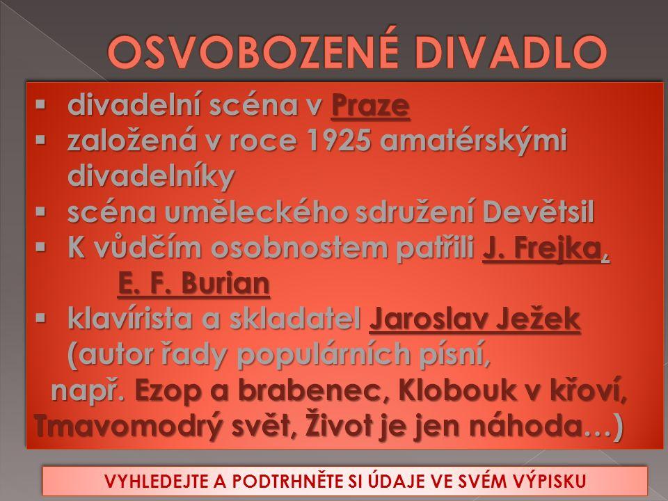  divadelní scéna v Praze  založená v roce 1925 amatérskými divadelníky  scéna uměleckého sdružení Devětsil  K vůdčím osobnostem patřili J.