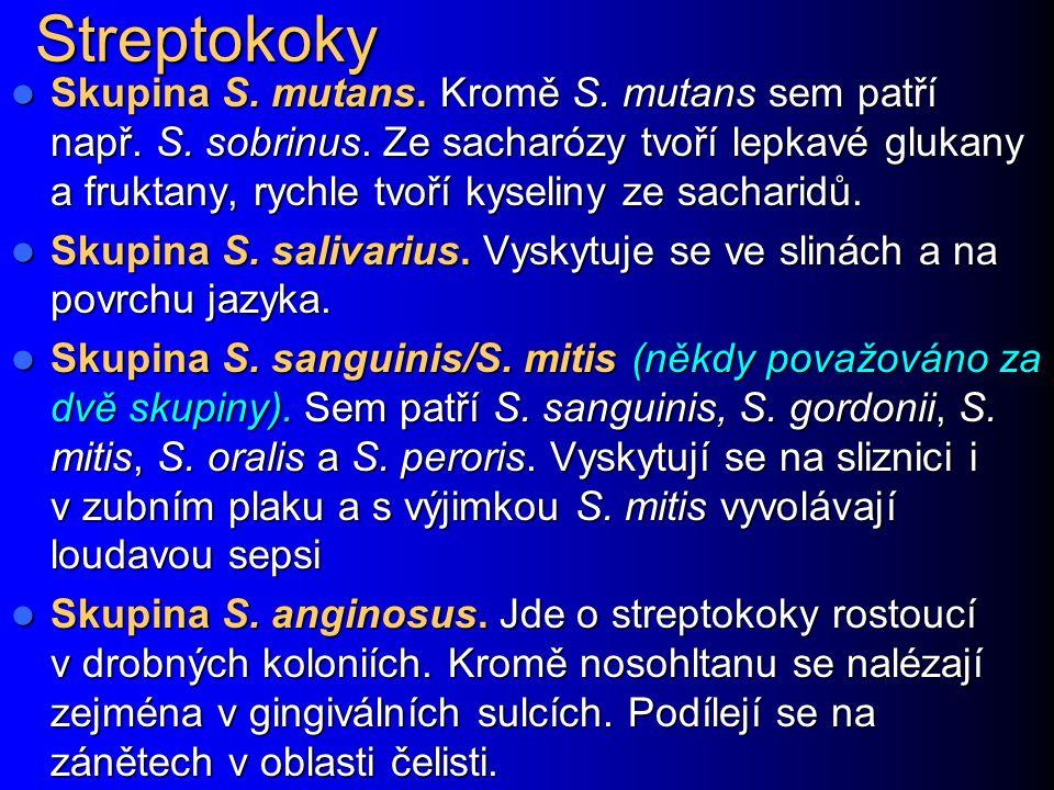 Streptokoky Skupina S. mutans. Kromě S. mutans sem patří např. S. sobrinus. Ze sacharózy tvoří lepkavé glukany a fruktany, rychle tvoří kyseliny ze sa
