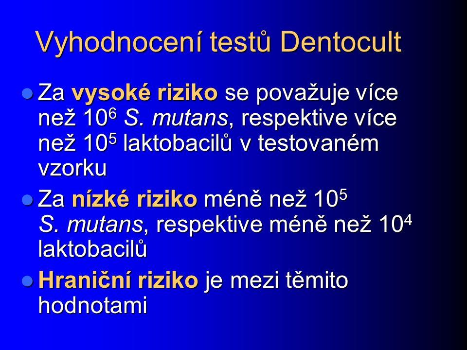 Vyhodnocení testů Dentocult Za vysoké riziko se považuje více než 10 6 S. mutans, respektive více než 10 5 laktobacilů v testovaném vzorku Za vysoké r