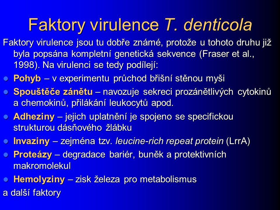 Faktory virulence T. denticola Faktory virulence jsou tu dobře známé, protože u tohoto druhu již byla popsána kompletní genetická sekvence (Fraser et