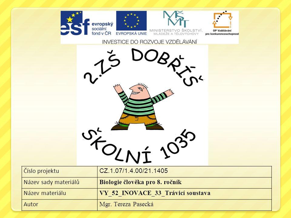 Číslo projektu CZ.1.07/1.4.00/21.1405 Název sady materiálů Biologie člověka pro 8.