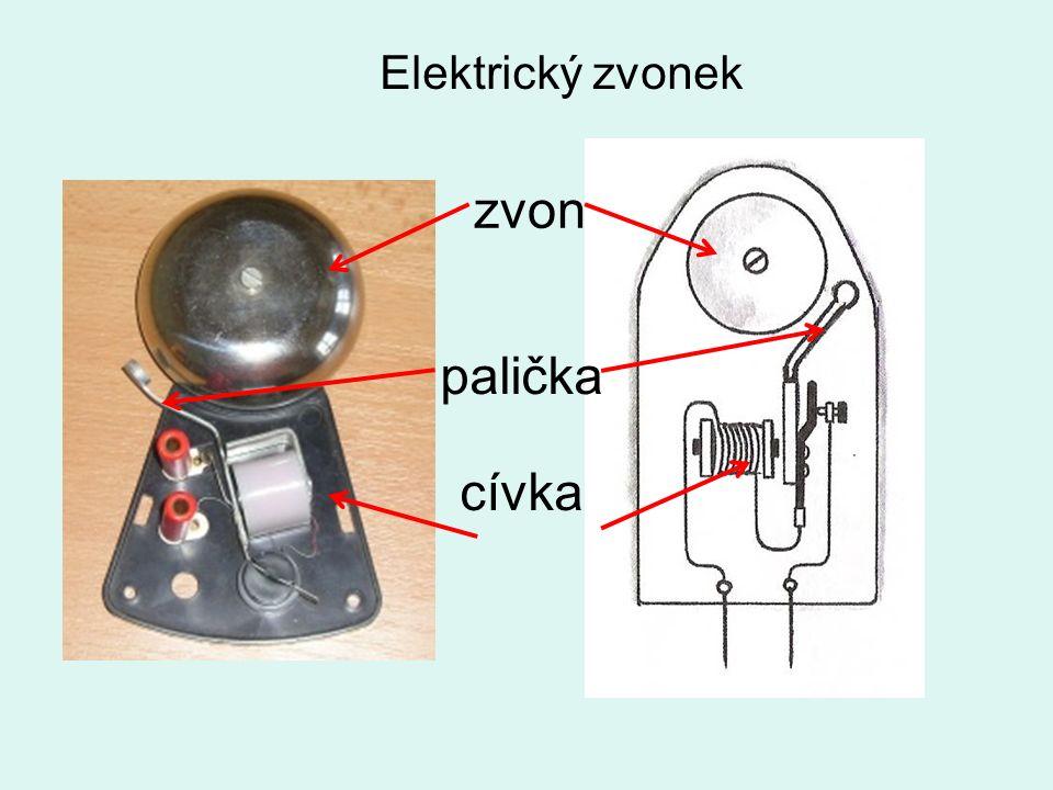 Jak zvonek pracuje Když připojíme zvonek ke zdroji elektrického proudu, cívka se změní v elektromagnet.