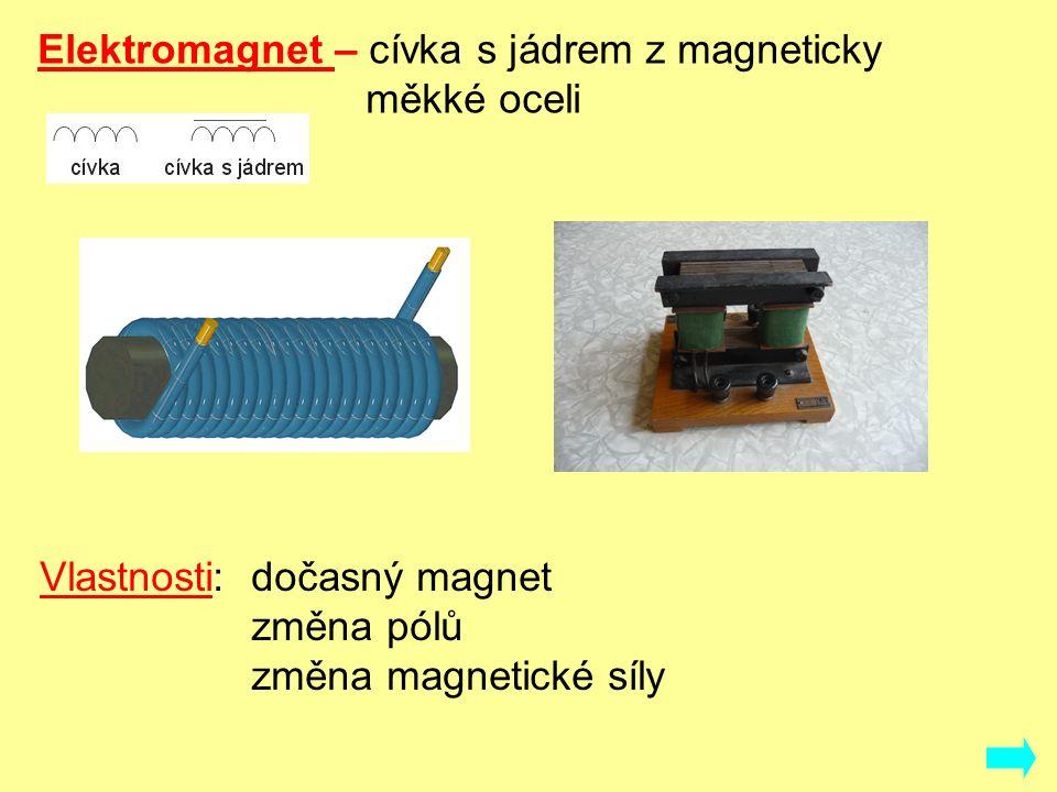 Elektromagnet – cívka s jádrem z magneticky měkké oceli Vlastnosti:dočasný magnet změna pólů změna magnetické síly