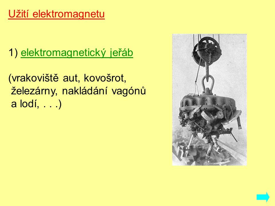 Užití elektromagnetu 1) elektromagnetický jeřáb (vrakoviště aut, kovošrot, železárny, nakládání vagónů a lodí,...) http://