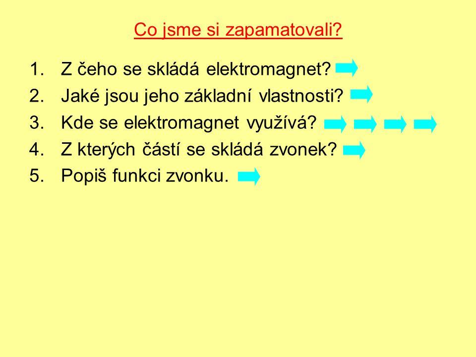 Co jsme si zapamatovali.1.Z čeho se skládá elektromagnet.
