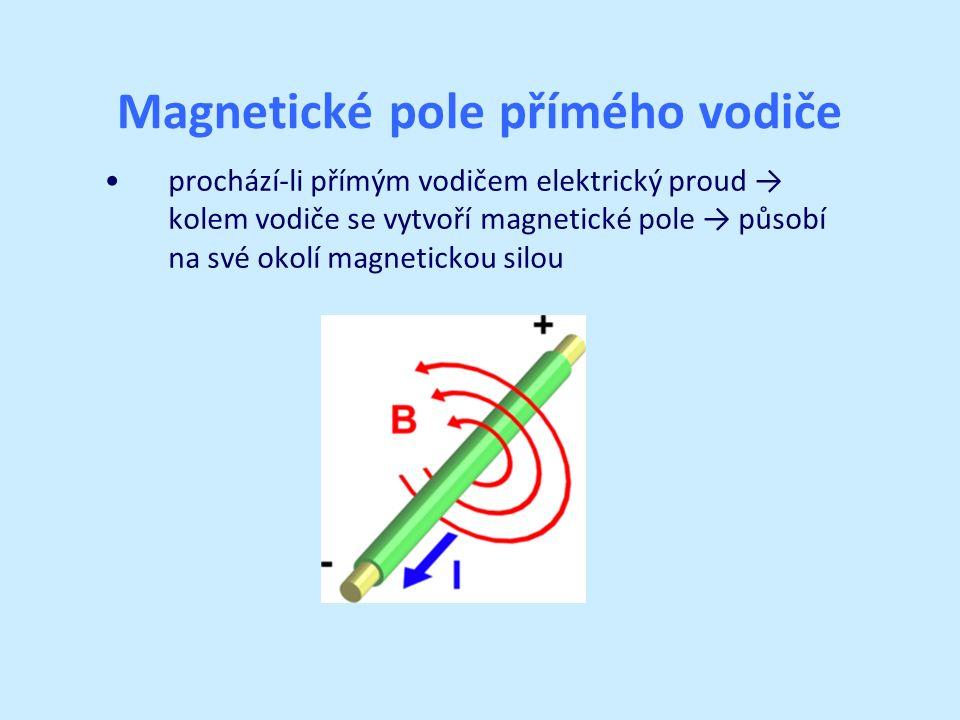 Magnetické pole přímého vodiče prochází-li přímým vodičem elektrický proud → kolem vodiče se vytvoří magnetické pole → působí na své okolí magnetickou silou