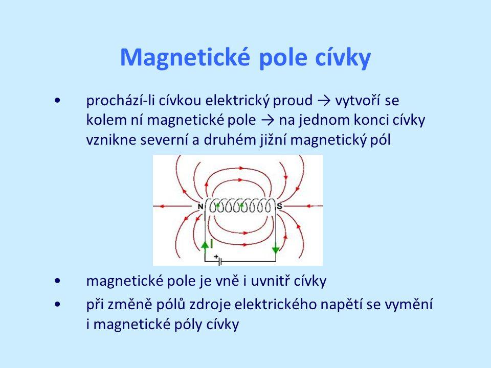Magnetické pole cívky prochází-li cívkou elektrický proud → vytvoří se kolem ní magnetické pole → na jednom konci cívky vznikne severní a druhém jižní magnetický pól magnetické pole je vně i uvnitř cívky při změně pólů zdroje elektrického napětí se vymění i magnetické póly cívky