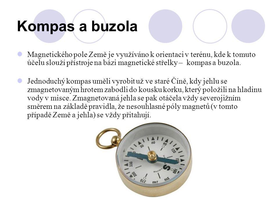 Kompas a buzola Magnetického pole Země je využíváno k orientaci v terénu, kde k tomuto účelu slouží přístroje na bázi magnetické střelky – kompas a bu