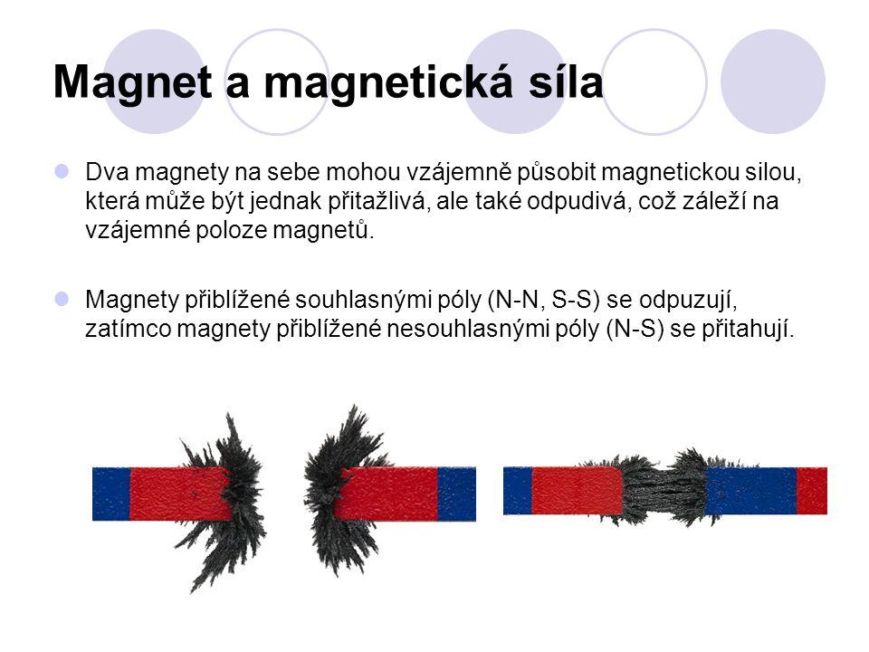 Magnet a magnetická síla Dva magnety na sebe mohou vzájemně působit magnetickou silou, která může být jednak přitažlivá, ale také odpudivá, což záleží