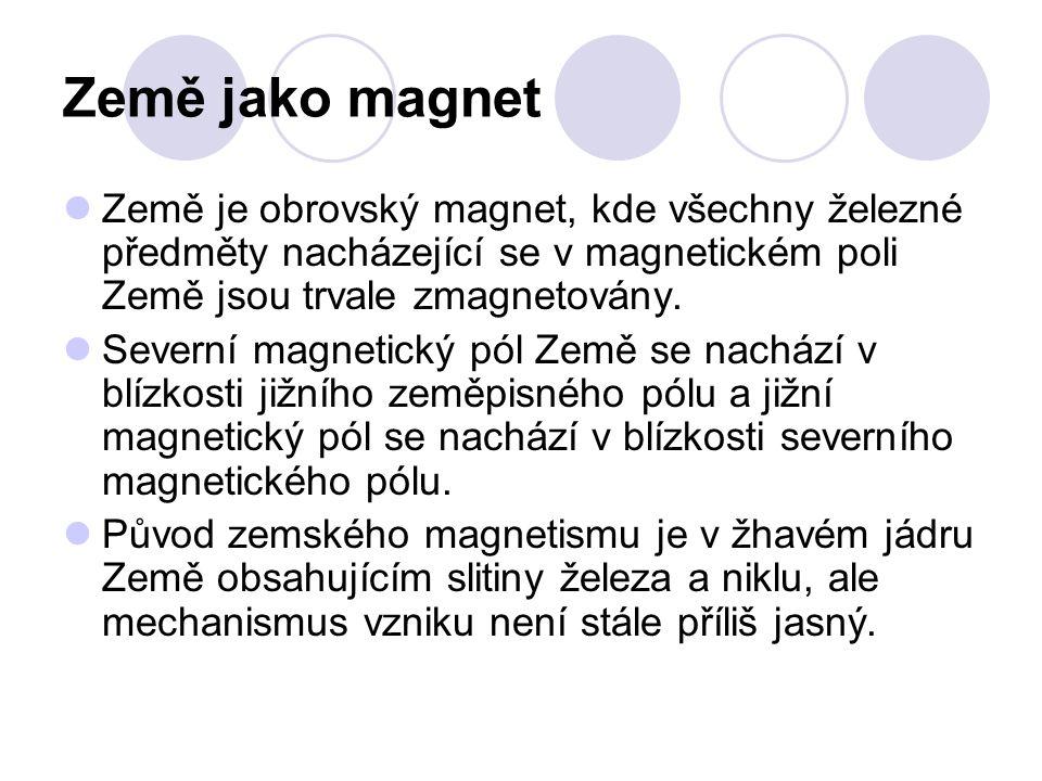 Země jako magnet Země je obrovský magnet, kde všechny železné předměty nacházející se v magnetickém poli Země jsou trvale zmagnetovány. Severní magnet