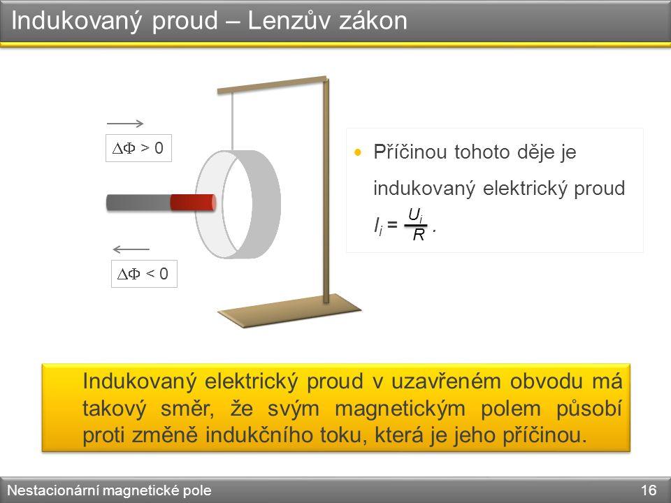 Indukovaný proud – Lenzův zákon Nestacionární magnetické pole 16 Příčinou tohoto děje je indukovaný elektrický proud I i =.