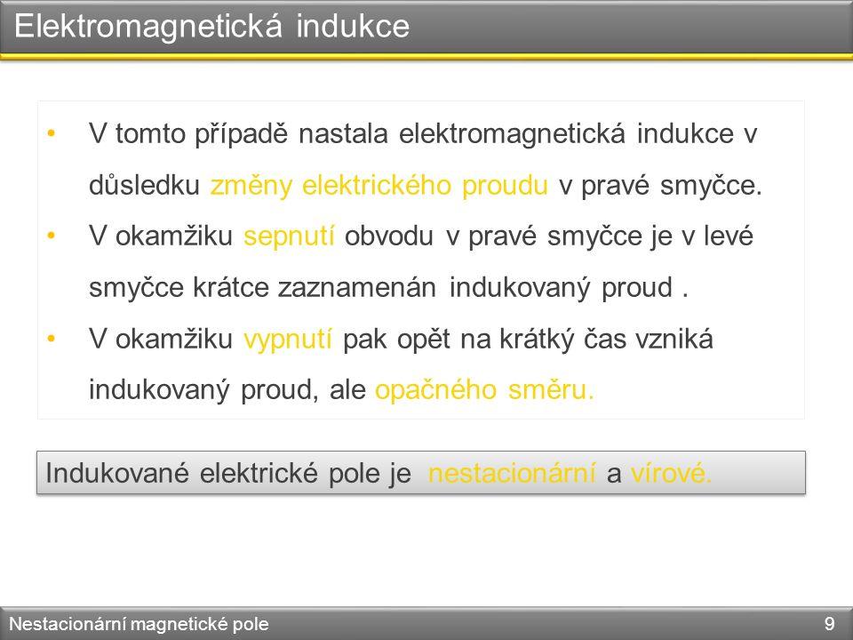 Elektromagnetická indukce Nestacionární magnetické pole 9 V tomto případě nastala elektromagnetická indukce v důsledku změny elektrického proudu v pravé smyčce.