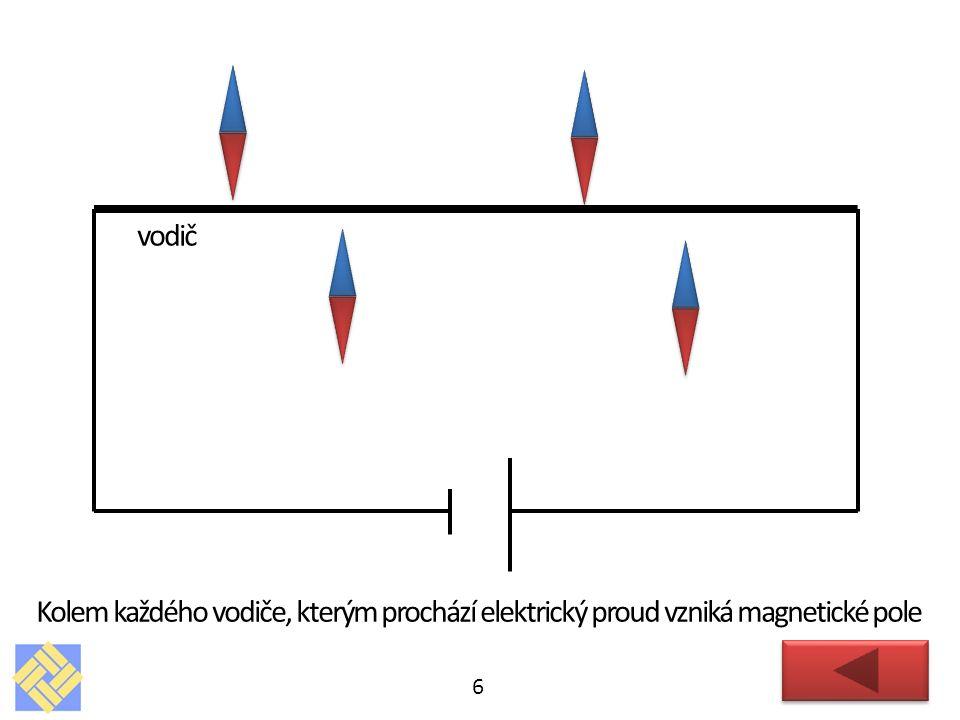 6 vodič Kolem každého vodiče, kterým prochází elektrický proud vzniká magnetické pole