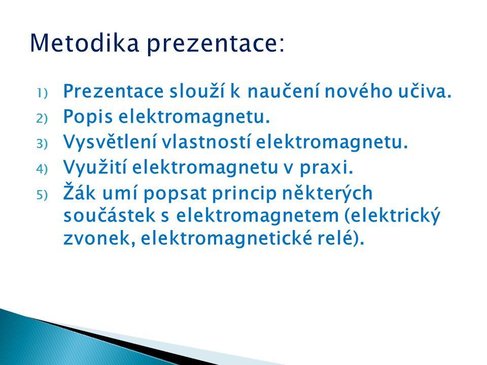 1) Prezentace slouží k naučení nového učiva. 2) Popis elektromagnetu.