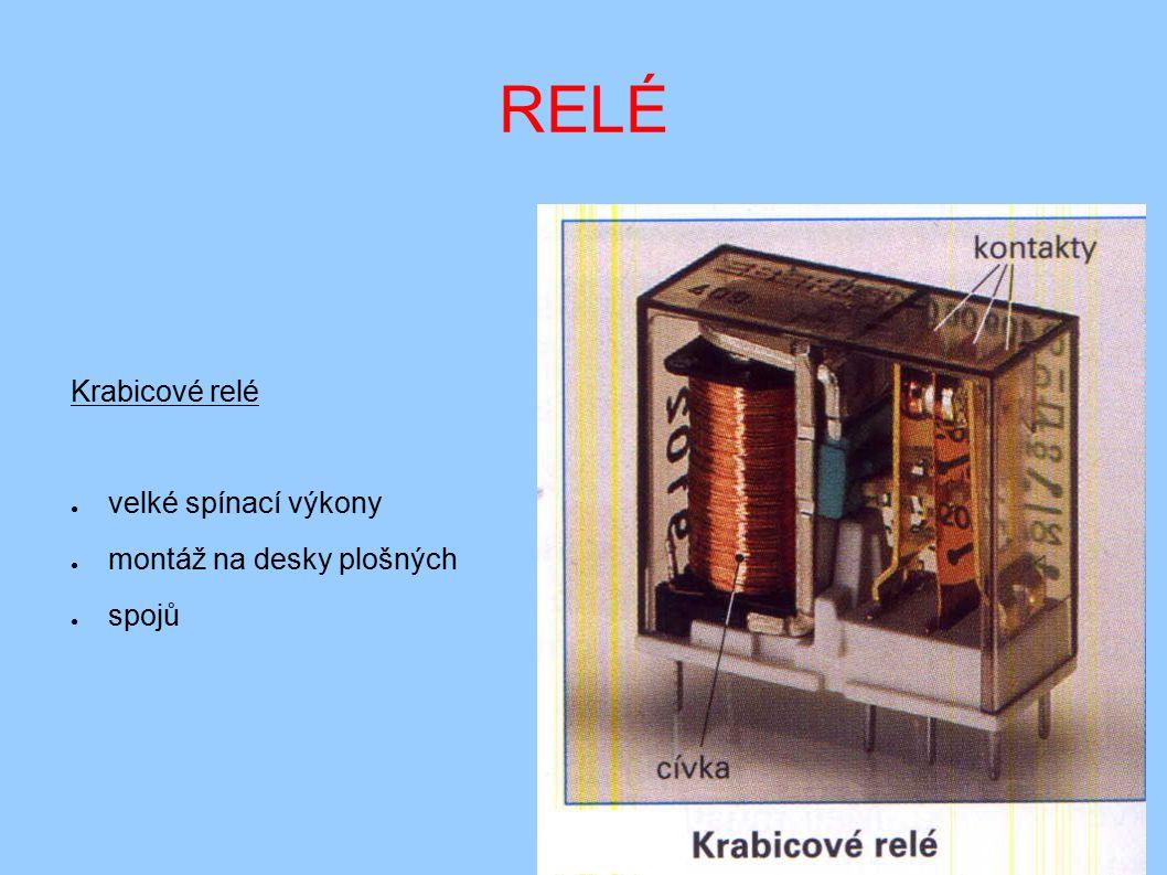 RELÉ Krabicové relé ● velké spínací výkony ● montáž na desky plošných ● spojů