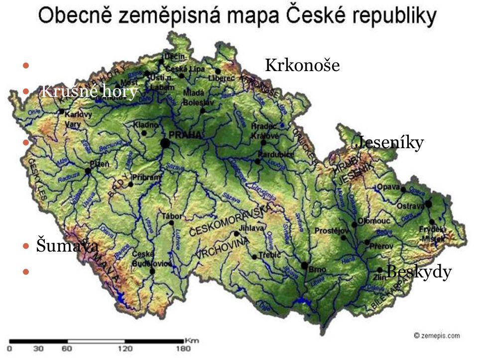 Povrch ČR nížiny – na mapě jsou zaznačeny zelenou barvou pohoří- na mapě jsou zaznačeny od žluté po hnědou barvu / podle výšky / vodstvo – na mapě jso