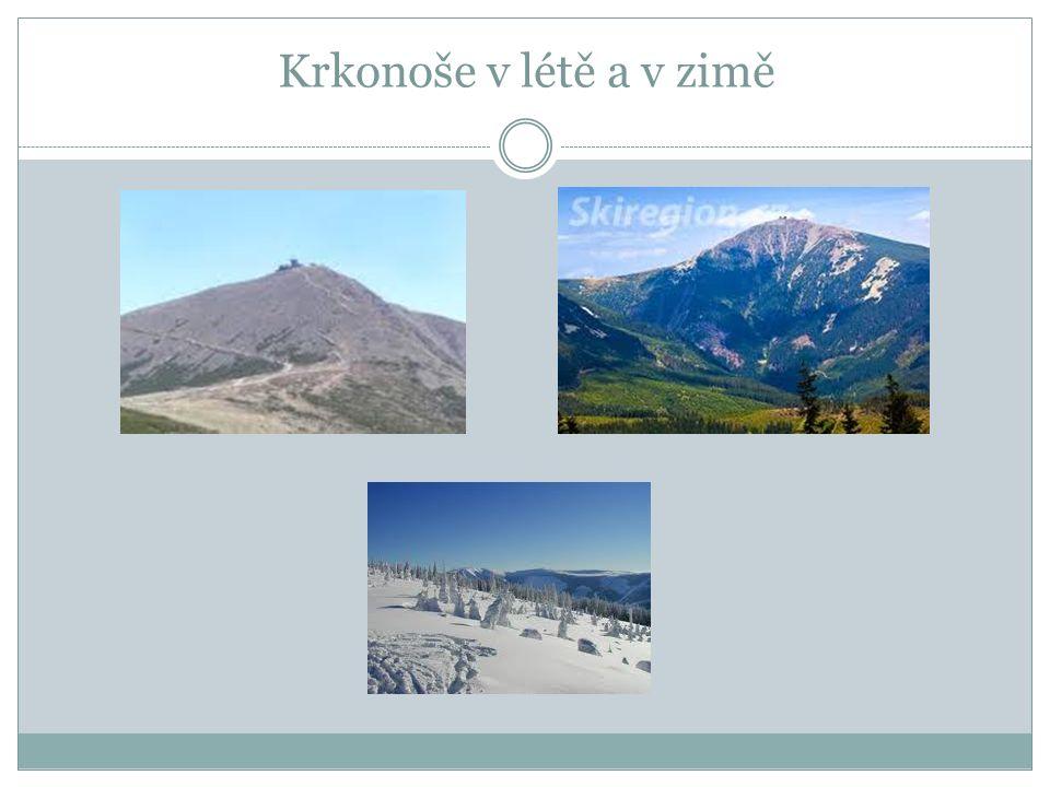 KRKONOŠE Krkonoše jsou nejvyšším pohořím České republiky. Nejvyšší hora Sněžka (1 602 m) je zároveň nejvyšším vrcholem ČR.