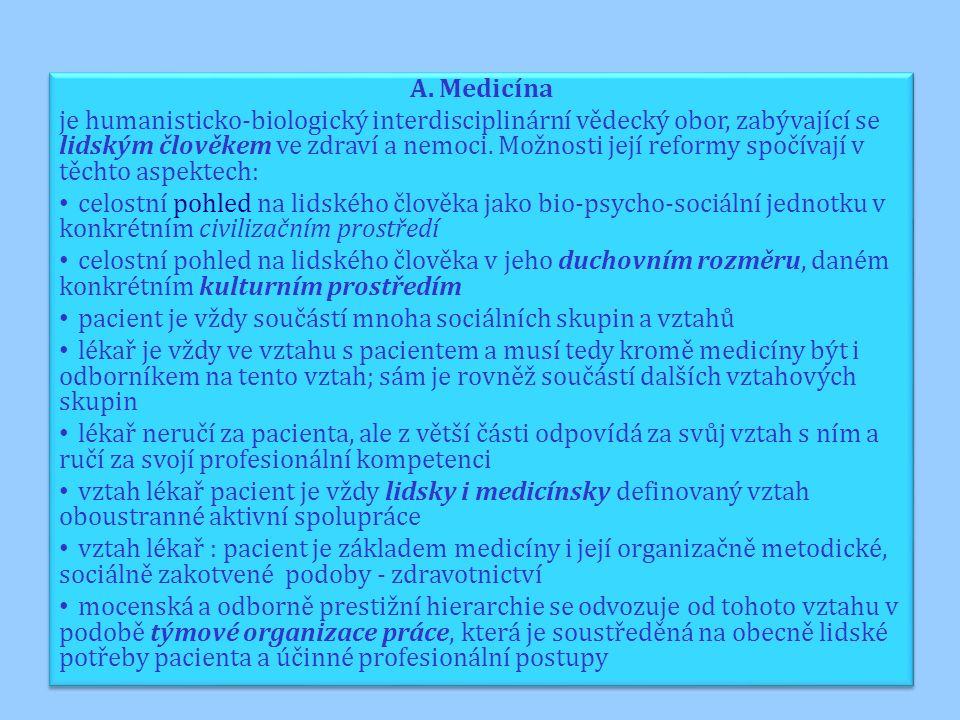 A. Medicína je humanisticko-biologický interdisciplinární vědecký obor, zabývající se lidským člověkem ve zdraví a nemoci. Možnosti její reformy spočí