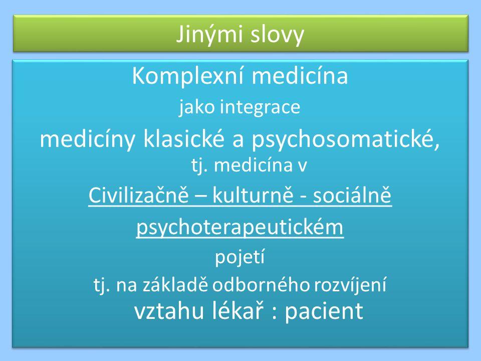 Jinými slovy Komplexní medicína jako integrace medicíny klasické a psychosomatické, tj.