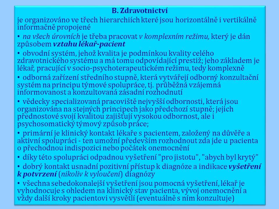 B. Zdravotnictví je organizováno ve třech hierarchiích které jsou horizontálně i vertikálně informačně propojené na všech úrovních je třeba pracovat v