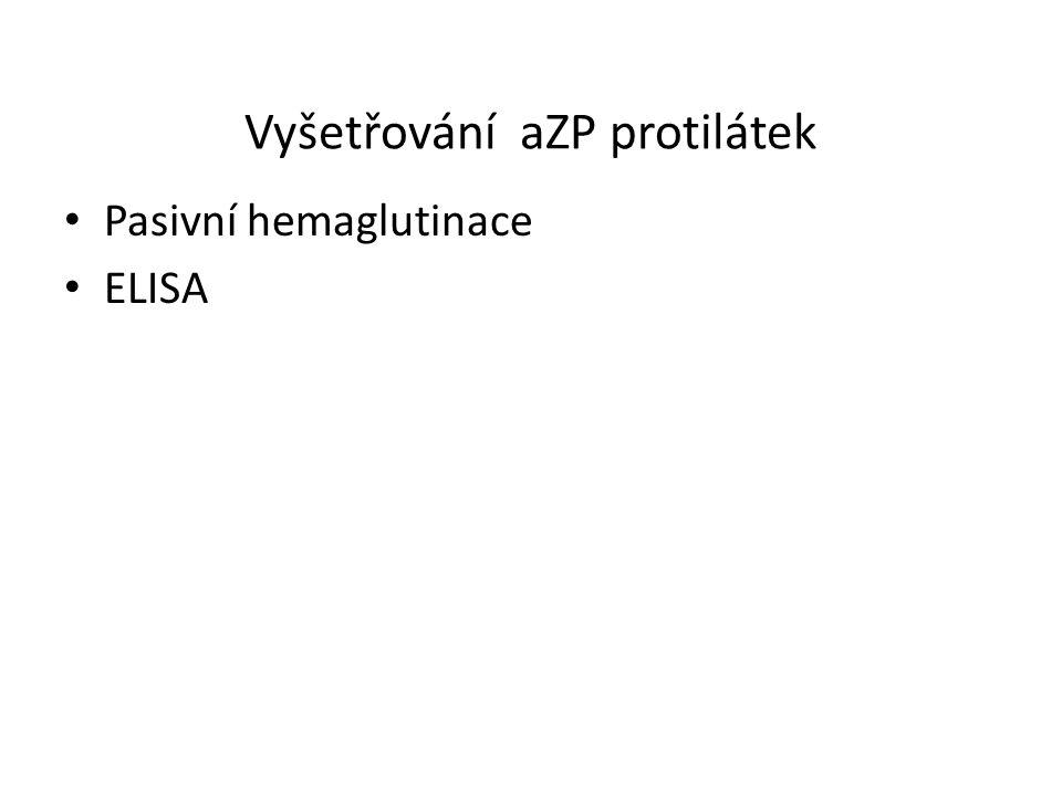 Vyšetřování aZP protilátek Pasivní hemaglutinace ELISA