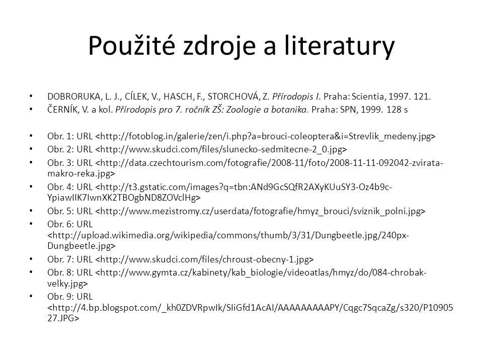 Použité zdroje a literatury DOBRORUKA, L. J., CÍLEK, V., HASCH, F., STORCHOVÁ, Z. Přírodopis I. Praha: Scientia, 1997. 121. ČERNÍK, V. a kol. Přírodop