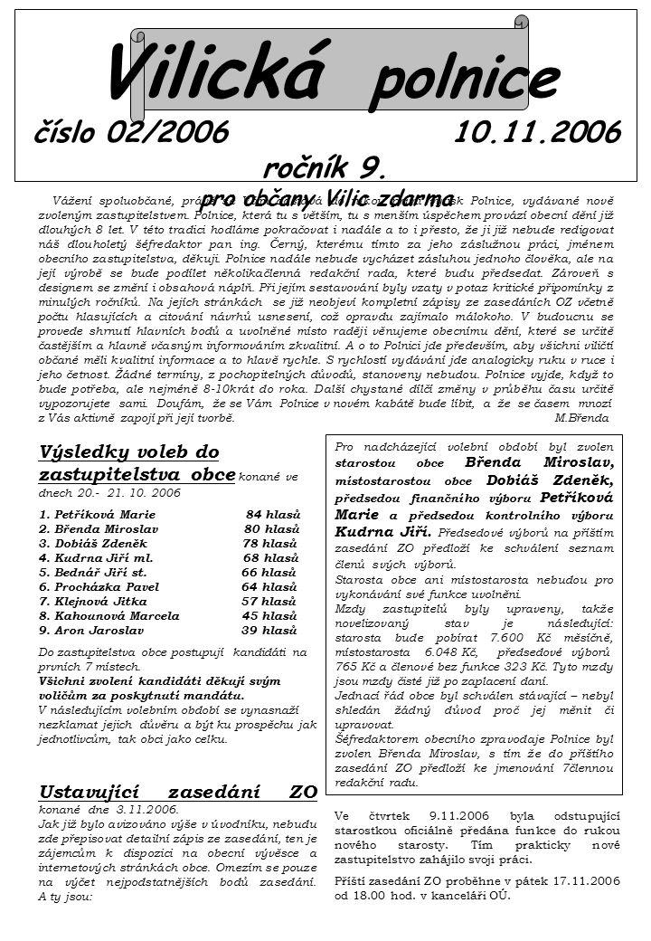 Vilická polnice číslo 02/2006 10.11.2006 ročník 9.