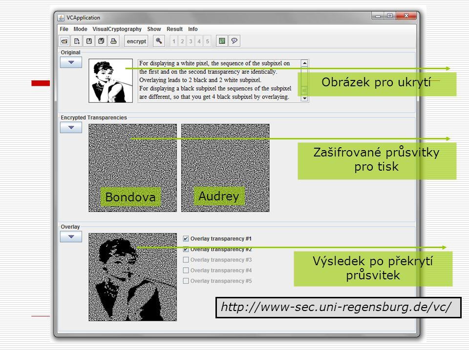 Obrázek pro ukrytí Zašifrované průsvitky pro tisk Výsledek po překrytí průsvitek http://www-sec.uni-regensburg.de/vc/ Bondova Audrey
