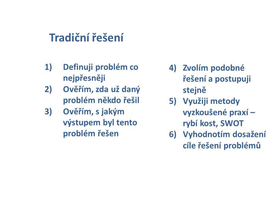4)Zvolím podobné řešení a postupuji stejně 5)Využiji metody vyzkoušené praxí – rybí kost, SWOT 6)Vyhodnotím dosažení cíle řešení problémů Tradiční řeš