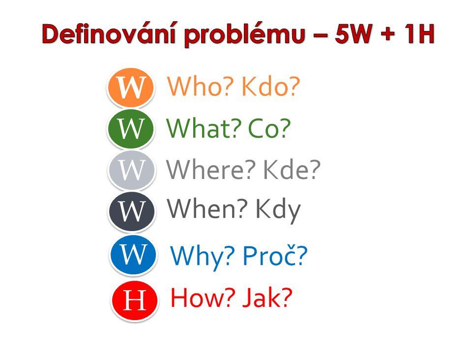 Where? Kde? Who? Kdo? What? Co? When? Kdy W W W W W W W W W W Why? Proč? H H How? Jak?