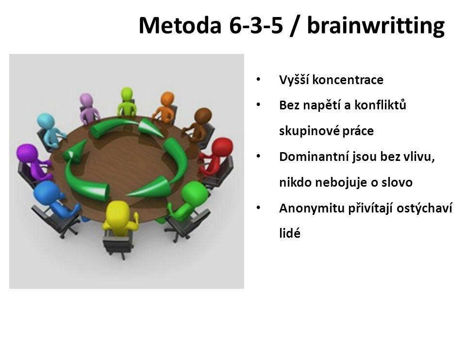 Metoda 6-3-5 / brainwritting Vyšší koncentrace Bez napětí a konfliktů skupinové práce Dominantní jsou bez vlivu, nikdo nebojuje o slovo Anonymitu přiv