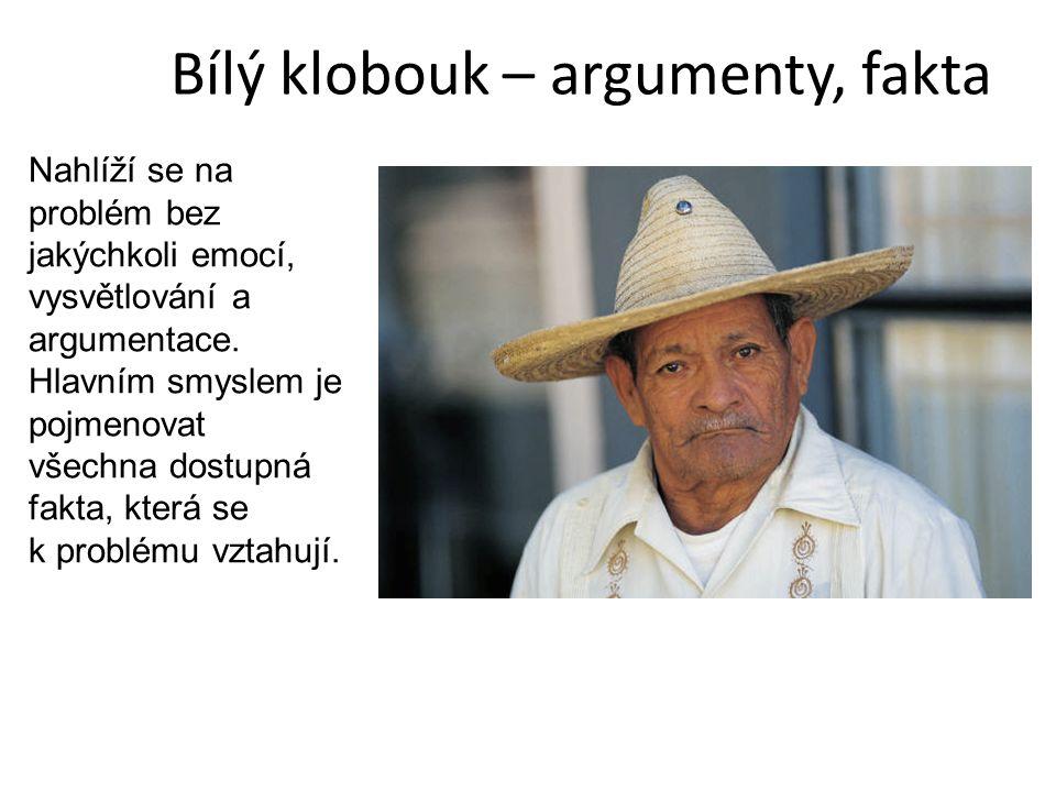 Bílý klobouk – argumenty, fakta Nahlíží se na problém bez jakýchkoli emocí, vysvětlování a argumentace. Hlavním smyslem je pojmenovat všechna dostupná