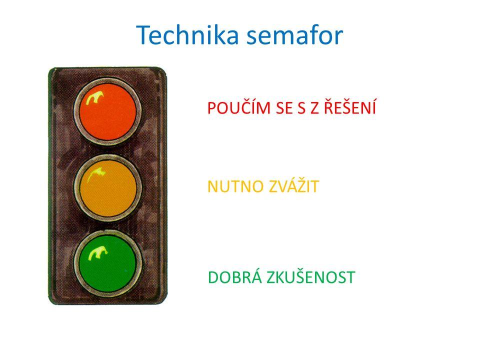 Technika semafor POUČÍM SE S Z ŘEŠENÍ NUTNO ZVÁŽIT DOBRÁ ZKUŠENOST