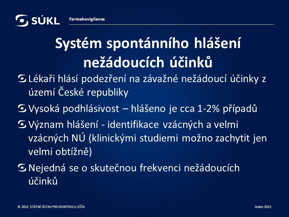 Systém spontánního hlášení nežádoucích účinků Lékaři hlásí podezření na závažné nežádoucí účinky z území České republiky Vysoká podhlásivost – hlášeno je cca 1-2% případů Význam hlášení - identifikace vzácných a velmi vzácných NÚ (klinickými studiemi možno zachytit jen velmi obtížně) Nejedná se o skutečnou frekvenci nežádoucích účinků leden 2015 © 2012 STÁTNÍ ÚSTAV PRO KONTROLU LÉČIV Farmakovigilance