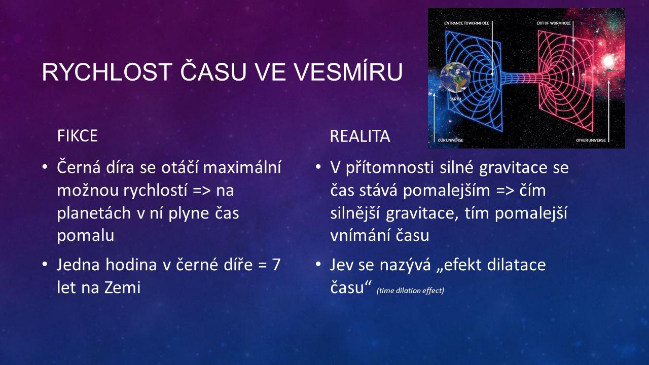 """RYCHLOST ČASU VE VESMÍRU FIKCE Černá díra se otáčí maximální možnou rychlostí => na planetách v ní plyne čas pomalu Jedna hodina v černé díře = 7 let na Zemi REALITA V přítomnosti silné gravitace se čas stává pomalejším => čím silnější gravitace, tím pomalejší vnímání času Jev se nazývá """"efekt dilatace času (time dilation effect)"""