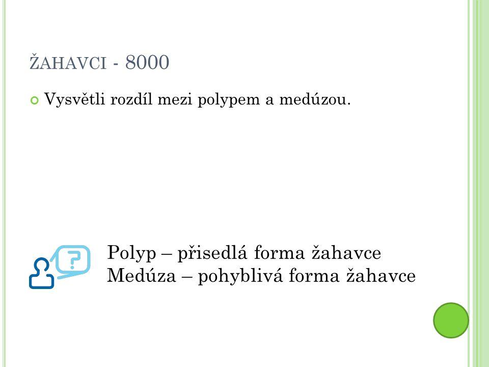 ŽAHAVCI - 8000 Vysvětli rozdíl mezi polypem a medúzou.