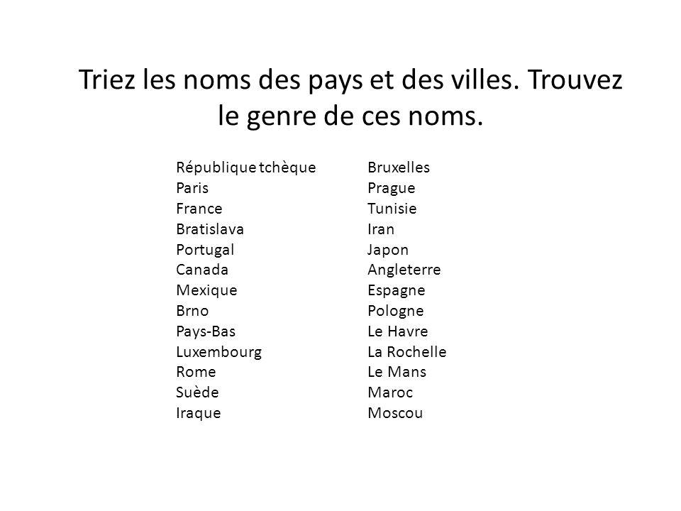 En République tchèque En France En Suède En Angleterre En Espagne En Pologne En Tunisie En Irak En Iran Quelles sont les prépositions employées.