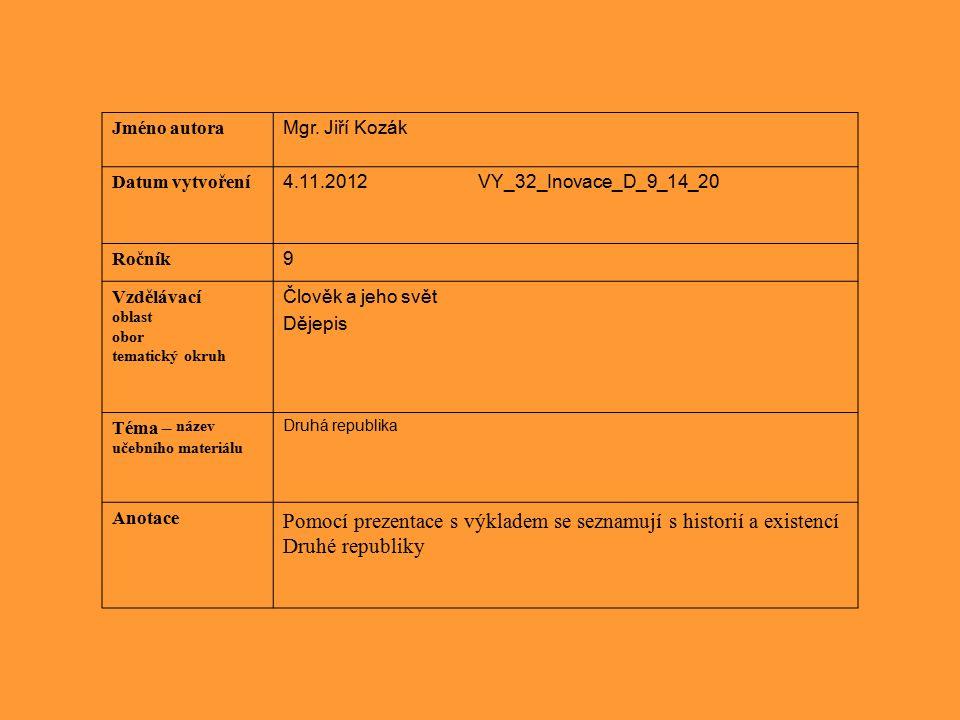 Jméno autora Mgr. Jiří Kozák Datum vytvoření 4.11.2012 VY_32_Inovace_D_9_14_20 Ročník 9 Vzdělávací oblast obor tematický okruh Člověk a jeho svět Děje